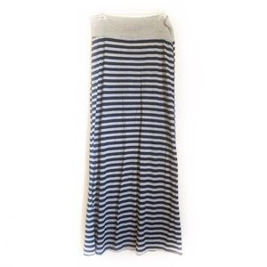 Rue 21 Navy and Gray Striped Maxi Skirt